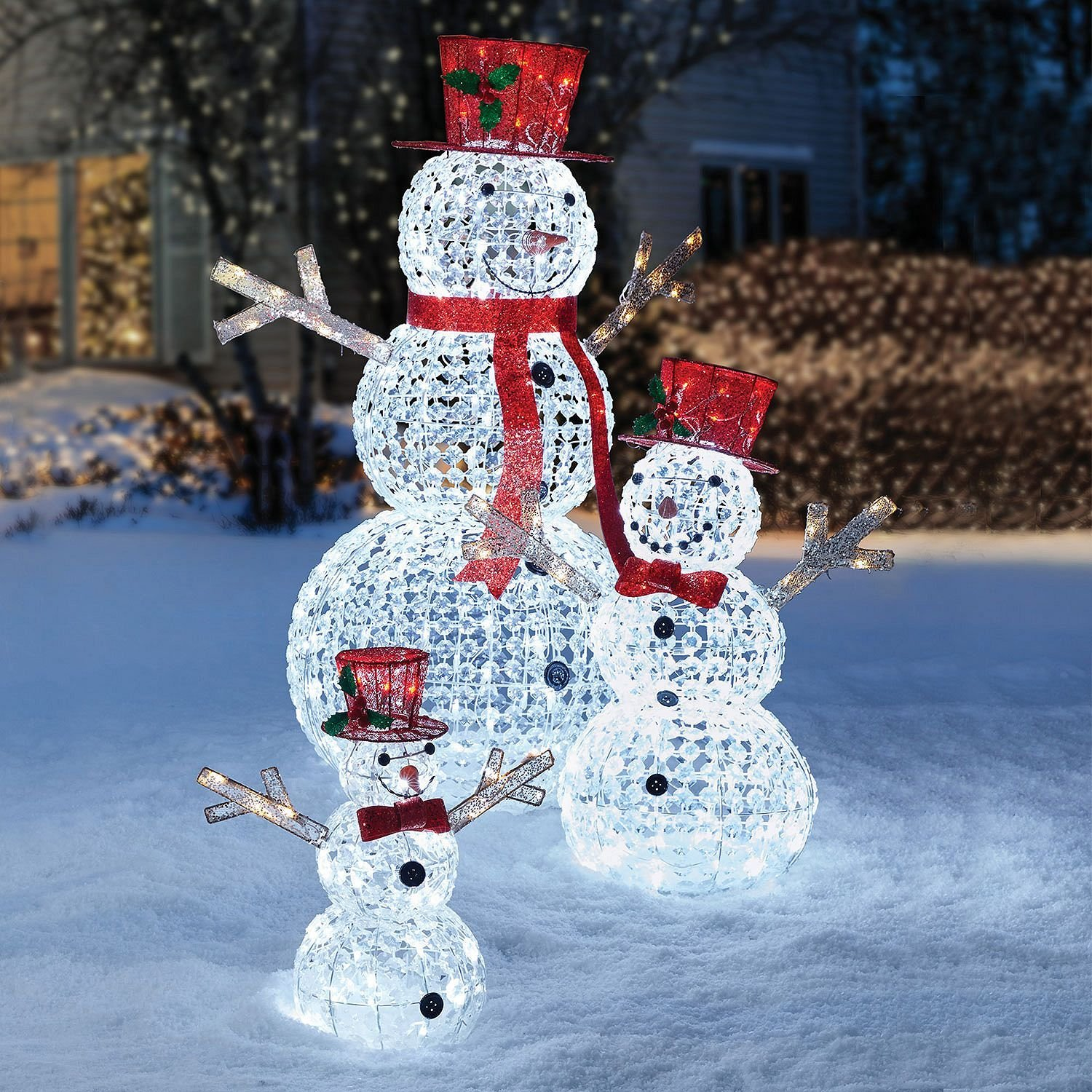 3pc led christmas holiday lighted random twinkling snowman family yard decor wholestuff. Black Bedroom Furniture Sets. Home Design Ideas