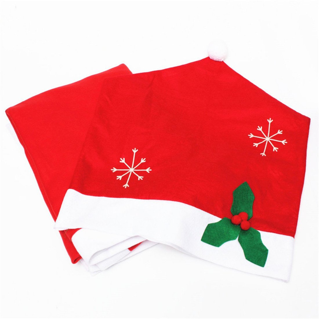 A Set Of Santa Hat Christmas Tablecloth And Chair Covers